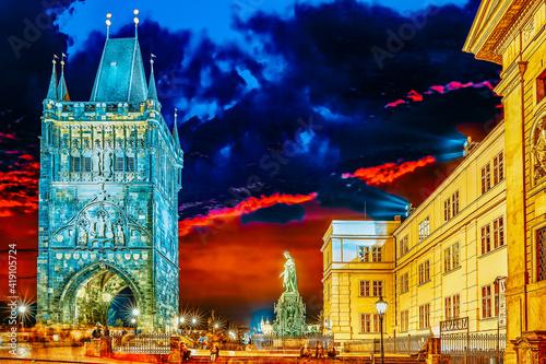 PRAGUE, CZECH REPUBLIC-SEPTEMBER 13, 2015: Monument for Charles IV near Saint Francis and Charles Bridge in Prague.
