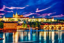 View Of Prague Castle And Charles Bridge-famous Historic Bridge That Crosses The Vltava River In Prague.