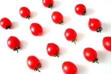 Many Fresh Tasty Tomatos Cherry On White Background, Plum Tomatoes, Closeup