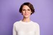 Leinwandbild Motiv Photo portrait of pretty smart female student wearing round glasses isolated on pastel purple color background