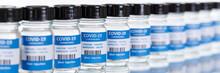 Coronavirus Vaccine Bottle Corona Virus COVID-19 Covid Vaccines Banner In A Row Copyspace Copy Space