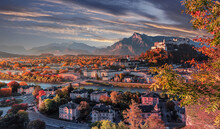 Wonderful Sunny Morning View On Most Popular City In Austria. Salzburg During Sunset. Incredible Colorful Cityscape At Autumn Season. Amazing Nature Landscape. Popular Travel And Historic Destination