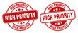 high priority stamp. high priority label. round grunge sign