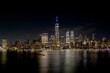 View of Lower Manhattan skyline and Financial District New York City taken from Jersey City, New Jersey showing the Hudson River
