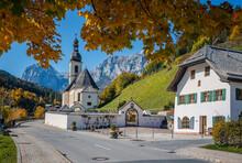 Scenic Image Of Nature Landscape. Wonderful Sunny Autumn Scenery In Bavarian Alps. Famous Parish Church Of St. Sebastian In Ramsau In Falltime, Nationalpark Berchtesgadener Land,  Bavaria, Germany