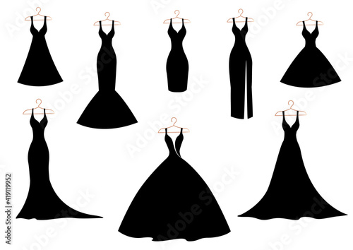 Canvastavla A set of silhouettes of classic, wedding and cocktail dresses on a hanger in black on white