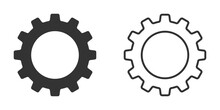 Set Of Gear Vector Icons Isolated On White Background. Symbol Of Setting In Flat Design. Cogwheel Tool Or Button For Web Application Or UI. Technical Concept. Mechanism Repair.