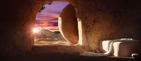 Crucifixion and Resurrection. Empty tomb of Jesus with crosses in the background. Easter or Resurrection concept. He is Risen. Happy Easter.