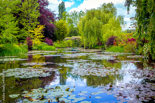 Pond, trees, and waterlilies in a french garden Fototapeta