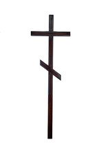 Wooden Cross For A Tombstone. Isolated
