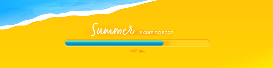 The summer is coming banner. The concept with sea and sand and the loading bar. A vector illustration