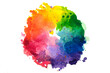 Impressionist style artistic color wheel or color palette drawn with water colors, isolated on white.