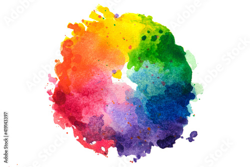 Fotomural Impressionist style artistic color wheel or color palette drawn with water colors, isolated on white