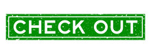 Grunge Green Check Out Word Square Rubber Seal Stamp On White Background