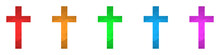 Christian Cross Icon. Set Of Crosses In Triangular Style. Vector Religion Symbol.