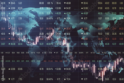 Fototapeta Crisis concept with falling financial chart indicators and market quotes on digital world map background obraz