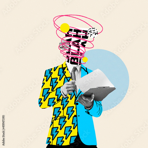 Fototapeta Unstoppable talks in head. Comics styled yellow suit. Modern design, contemporary art collage. Inspiration, idea concept, trendy urban magazine style. Negative space to insert your text or ad. obraz