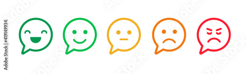 Feedback emoji icons vector design. Bad and Good Review. Happy and Sad reaction.