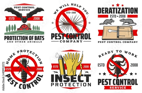 Pest control service isolated vector icons Fototapeta