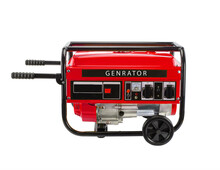 Red Portable Electric Generator - Isolated On A White Background.