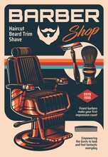 Barber Shop Vector Vintage Poster With Armchair And Classic Equipment Shaving Brush And Razor Blade For Men Haircutting, Trim And Beard Shave. Retro Advertising Card For Gentlemen Barbershop Service