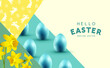 Happy Easter celebrations background with daffodil flowers, easter chocolate eggs and rabbit silhouettes. Vector illustration.