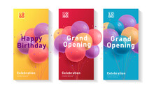 Set Of Leaflets Or Flyers With 3d Realistic Colorful Bunch Of Birthday Round Balloons, Event Invitation, Grand Opening Celebration