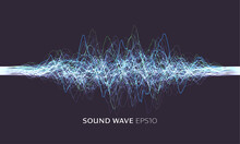 Science, Technology Background. Vector Sound Wave. Abstract Music Pulse Background. Vector Data Stream Illustration. Sound Equalizer, Great Design For Any Purposes.