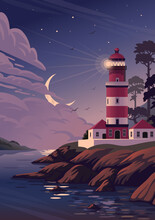 Lighthouse - Vector Landscape. Sea Landscape With Beacon On Cliff And Crescent In Clouds. Vector Illustration In Flat Cartoon Style