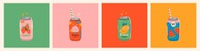 Set Of Tasty Sodas. Soft Drinks In Aluminum Cans. Carbonated Water With Fruit Flavor. Asian, Japanese Kawaii Style. Hand Drawn Colorful Vector Illustrations