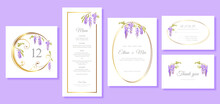 Vector Set Wedding Invitation Cards Template With Wisteria Flowers