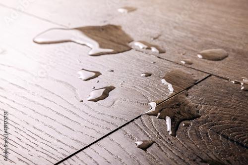 Obraz waterproof flooring - spilled water drops on wooden laminate floor - fototapety do salonu