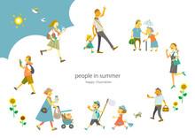夏を迎えた様々な世代のな人々 ベクターでは人物はそれぞれ動かせます