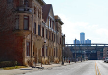 Street View Of Detroit, Michigan. GM Building. Comerica Park.