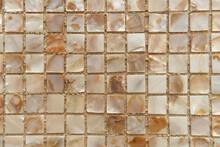 Nacreous Beige Tiles Background, Top View