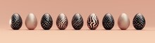 Easter Eggs Isolated On Cream Peach Background -Ultra Wide Panoramic - Seasonal Spring Decoration Element