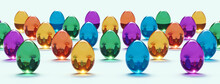 Easter Eggs Isolated On White Background - Transparent Colorful Glass - Panoramic - Seasonal Spring Decoration Element