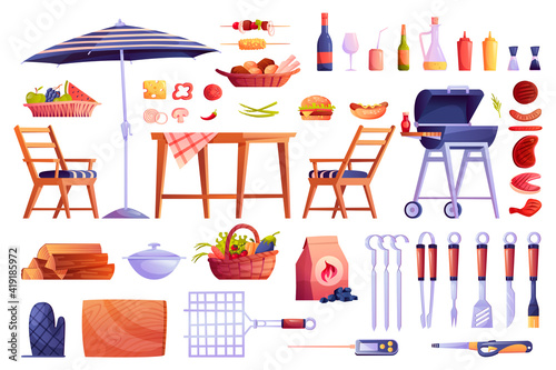 Grill and barbecue icons set, food and grilling equipment isolated Fototapet