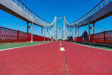 Pedestrian Bridge Over Dnypro River In Kyiv, Ukraine On August 30, 2020.