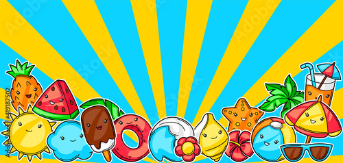 Background with cute kawaii summer items. © incomible