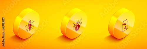 Canvas Set Isometric Termite, Spider and Fireflies bugs in a jar icon