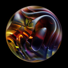 3d Render Of Abstract Art With Surreal 3d Organic Ball In Curve Wavy Smooth And Soft Bio Forms In Matte Glass Material Inside Sphere With Blur Effect On The Edges In Purple Yellow On Black Background