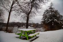 Fresh Snow On Picnic Bench