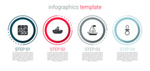 Set Tic Tac Toe Game, Toy Boat, And Baby Dummy Pacifier. Business Infographic Template. Vector.