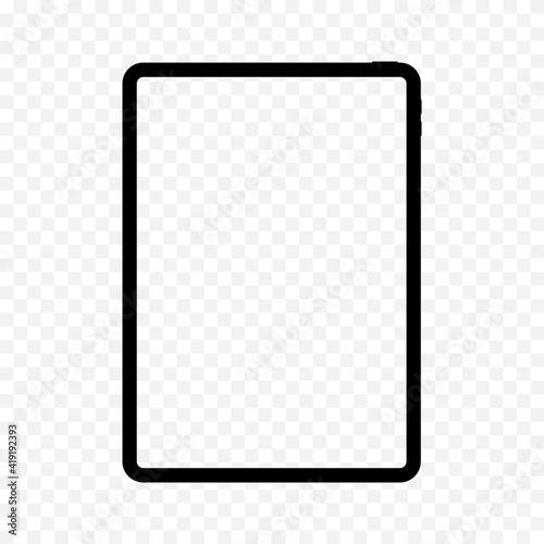 Fototapeta Realistic tablet frame template mockup isolated. Empty white screen of digital gadget with black slim body modern touch vector style. obraz na płótnie