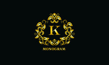 Stylish Design For Invitations, Menus, Labels. Elegant Gold Monogram On A Dark Background With The Letter K. The Logo Is Identical For A Restaurant, Hotel, Heraldry, Jewelry.