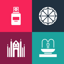 Set Pop Art Fountain, Milan Cathedral, Pizza And Perfume Icon. Vector.