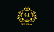 Stylish Design For Invitations, Menus, Labels. Elegant Gold Monogram On A Dark Background With The Letter Q. The Logo Is Identical For A Restaurant, Hotel, Heraldry, Jewelry.