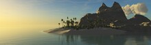 Beautiful Sunset Over A Tropical Island With Palm Trees And A Cliff ,, 3d Rendering