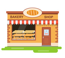 Bakery, Bakery Building With A Showcase Of Fresh Bread. Vector Illustration.